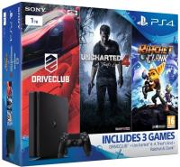 PlayStation 4 Slim, 1TB + Uncharted 4, DRIVECLUB + Ratchet & Clank